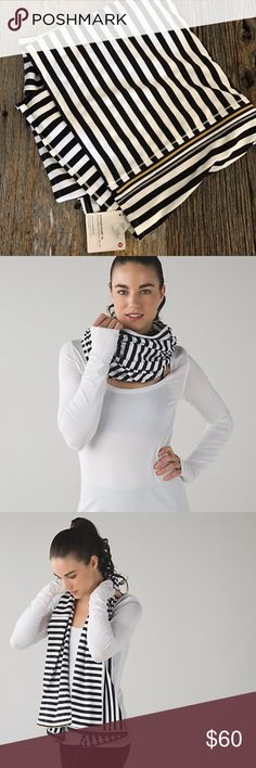 Lululemon NWT Apex Stripe Vinyasa Scarf NWT, special edition, black & white with gold zipper. lululemon athletica Accessories Scarves & Wraps