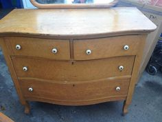 Antique Birdu0027s Eye Maple Dresser With Mirror