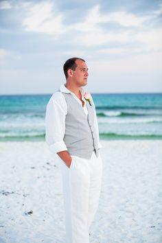 beach wedding groom's attire, destination wedding groom