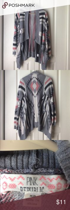 Cute tribal cardigan Pink and gray tribal patterned winter cardigan Sweaters Cardigans