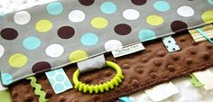 Baby Boy Tag Blanket, Sensory Lovey, Ribbon Blanket,  Grey Polka Dot--etsy $20