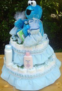 Cookie Monster Baby Shower Favors | Cookie Monster Diaper Cake