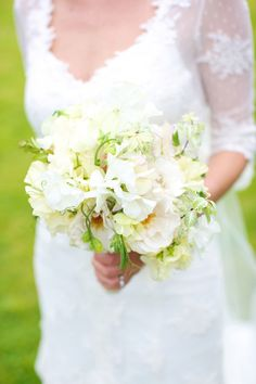 white, sunny and green bouquet - Read more on One Fab Day: http://onefabday.com/a-marquee-wedding-by-elisha-clarke/