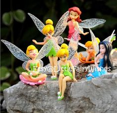 6 piece Tinkerbell and friends figures cake by LittleFairyWishes
