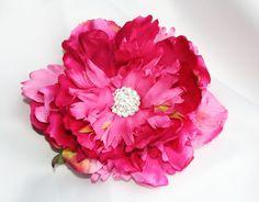 Pink peony hair clip bridesmaid hair clip by serenitycrystal, $16.00