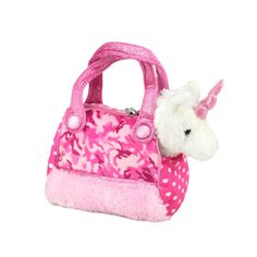 Title: Unicorn in Pink Camo Bag Fancy Pals Size: Measures 8 inch / 20cm long Price: AUS$ 22.95 Brand : Aurora  Lots more items like this available at: www.stuffedwithplushtoys.com 100 Day Returns |Fast Trackable Shipping|Google Trusted Store
