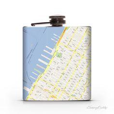 Google Maps  (Customize a Location) 6oz Liquor Hip Flask