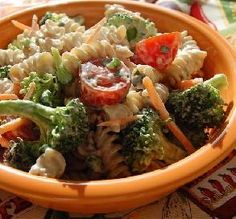 """Creamy Broccoli Pasta Salad: """"I looking to find a tasty, lower-calorie pasta salad that included veggies, and I found it. So fresh and tasty you'd think you were at the beach on a picnic."""" -Andi of Longmeadow Farm"""