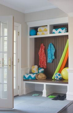 Pool Changing Room Ideas our outdoor pool bathroom Beach Cottage Mudroom Boasts Built In Cubbies Filled With Yellow And Turquoise Chevron Towels Over Basement Renovationsbasement Ideasbasement Poolmudroom