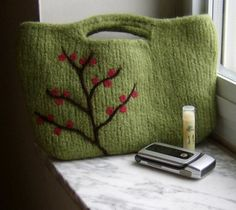 Felted Handbag Purse Berry Branch Wool Clutch  Made by shanineal, $70.00