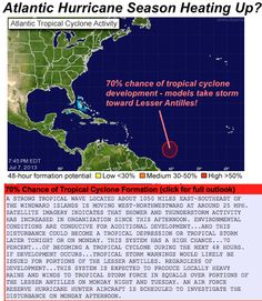 Atlantic hurricane season could be getting started with a tropical wave halfway between the Lesser Antilles and western Africa with a 70% chance for tropical cyclone development given by the NHC.    Most forecast models take this storm toward the Lesser Antilles, and while anything can happen thereafter, a few of the models are eventually taking this storm toward the southeast U.S. Coast. We'll keep you updated on the status of this storm.