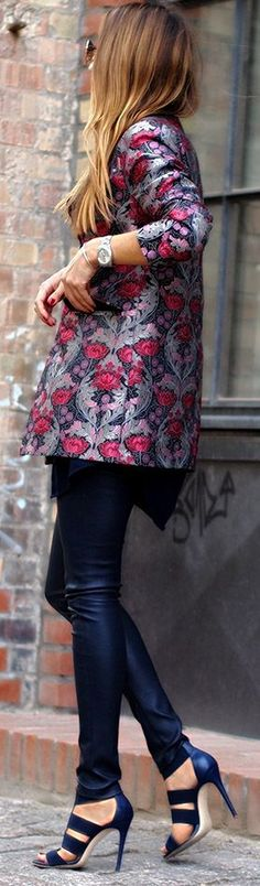 Winter inspiration - love this blazer over a black midi dress and boots #brocade http://yurn.it/s/1a3