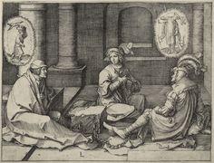 Artist: van Leyden, Lucas, Title: Die Jacobsfolge, Joseph im Gefängnis Träume deutend, Date: 1512