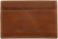Tumble & Hide Slim Italian Leather Credit Card Holder 1732_THV Brown: Amazon.co.uk: Clothing