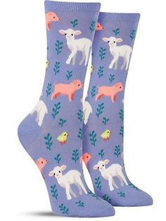 Colorful Piglet, Lamb, and Chick Animal Socks for Women