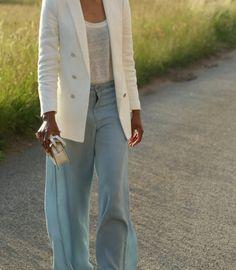 palazzo jeans, white blazer
