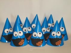 Cookie Monster party hats- would be pretty easy to DIY