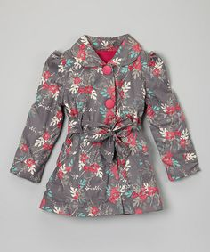 Inspiration Gray Floral Trench Coat - Toddler & Girls