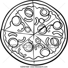 Clipart of italian pizza cartoon coloring page - Search Clip Art, Illustration Murals, Drawings and Vector EPS Graphics Images - Pizza Coloring Page, Food Coloring Pages, Cartoon Coloring Pages, Coloring Pages To Print, Printable Coloring Pages, Coloring Pages For Kids, Coloring Sheets, Coloring Book, Black And White Cartoon