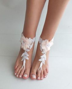 722d8eebd7661 Beach wedding barefoot sandals blush flowers wedding shoes
