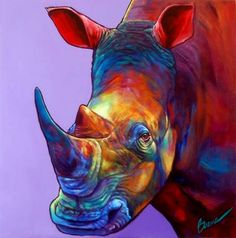 "Ron Burns, ""Randy"","" ""30"" x 30""  #Rhino #painting"