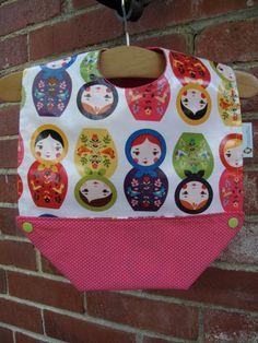 Snap-Pocket Feeding Bib Laminated Cotton by RagamuffinsandCo Matryoshka Doll, Raspberry, Polka Dots, Pocket, Dolls, Cotton, Puppet, Doll, Raspberries