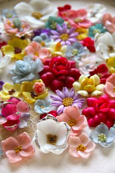 seashell flowers | ... rose shapes make up this stunning carpet of vintage seashell flowers