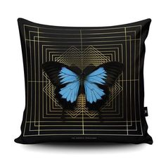 DECO SQUARE ULYSSES cushion, one of three new designs, for sale from www.thecuriousdepartment.com . . . #thecuriousdepartment #cushions #cushion #pillows #vegansuede #butterfly #artdeco #homewares #interiors #christmasgift #christmasinspiration #ukinteriorshoplove #styleitdark #eclectichome #
