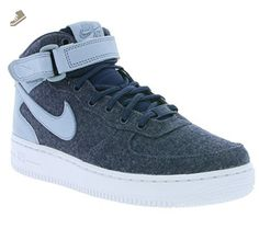 promo code 45e75 3779c Nike AIR FORCE 1  07 MID LTHR PRM womens basketball-shoes 857666-400 9.5 - MIDNIGHT  NAVY MIDNIGHT NAVY-BLUE GREY - Nike sneakers for women ( Amazon ...