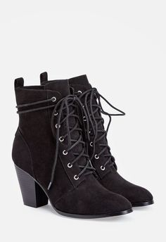 These ultra comfortable booties feature a faux stacked heel and a wrap around lace up closure. They're sure to take your denim to the next level....
