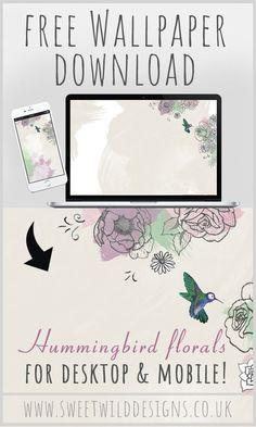 Beautiful hummingbird wallpaper freebie... Free Planner, Printable Planner, Happy Planner, Printables, Hummingbird Wallpaper, Commercial Fonts, Digital Scrapbook Paper, Wallpaper Free Download, Floral Illustrations