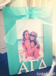 DIY sorority picture frame! You can put whatever sorority letters you want.