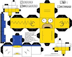 Homer Simpson Papercraft Template.