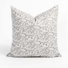 This pillow features a block print style botanical motif in shades of grey. Swirling floral vines layered on an earthy background creates a transitional look that is both pretty and casual with a slightly exotic flair that will look beautiful paired with soft greys or mixed with other blue tones. Shimla, Blue Tones, Handmade Pillows, Shades Of Grey, Fashion Prints, Decorative Accessories, Earthy, Fabric Design, Swatch