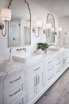 Guest Bathroom Counter Decor Double Sinks