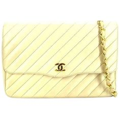 Pre-owned Chanel Medium Classic Flap Diagonal Quilted White Beige... (€980) ❤ liked on Polyvore featuring bags, handbags, shoulder bags, beige, cross body handbags, white handbags, cross body purse, white crossbody and evening bags