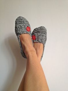 Grey Tweed Crochet Womens Slippers, Ballet Flats, House Shoes