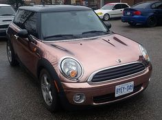 rose gold mini cooper. I AM IN LOVE!