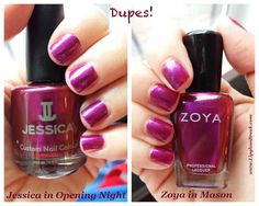 Dupes! Jessica Cosmetics in Opening Night and Zoya in Mason. Both beautiful purples for fall!