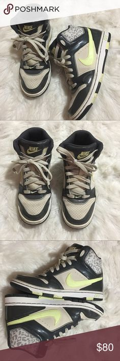 Nike high tops leopard print Good condition. Minor wear. Lime green, beige and leopard very pretty Nike Shoes Sneakers