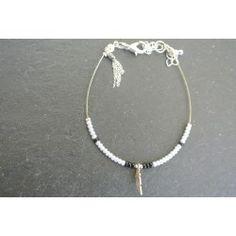 Bracelet rocaille plume et pompon chainette argenté
