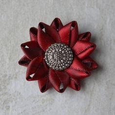 Mens Lapel Pin Mens Lapel Flower Black and Red by PetalPerceptions
