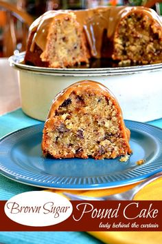 This deliciously dense flavorful Brown Sugar Pound Cake is just what your dessert table needs! A very moist delicious bundt cake filled with toffee bits, b Just Desserts, Delicious Desserts, Dessert Recipes, Yummy Food, Brown Sugar Pound Cake, Sugar Cake, Gateaux Cake, Pound Cake Recipes, Pound Cakes