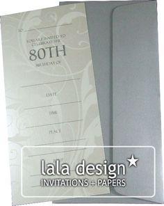 Latte Flourish 80th birthday invitation