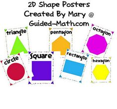 2D Shape Posters for math Word Wall (Free) from Guided-Math.com
