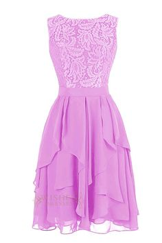 Classic lace bodice with scoop neckline and v cut back. Full short chiffon skirt with cascading layers. Narrow ribbon at waist. Available in short, knee and floor length. Photographed in lilac color.