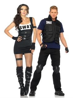 Couples Costumes, #Halloweencostumescouples, #CouplesCostumes Adult Halloween Costumes halloween costumes , SWAT Team Couples Costume available at Teezerscostumes.com