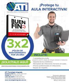 Éste 13 al 16 de Noviembre, ATI Tecnología Integrada se une a El Buen Fin con descuentos y promociones increíbles! ¡Aprovecha el fin más barato del año!  Como ésta: 3x2 póliza de mantenimiento por un año.  Consulta TODAS NUESTRAS PROMOCIONES EN: www.tecnologiaintegrada.com.mx/elbuenfin.html