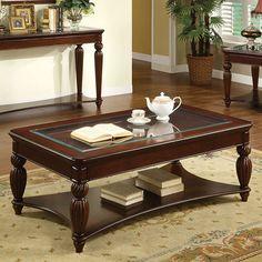 Windsor Traditional Dark Cherry Glass Solid Wood Veneer Coffee Table