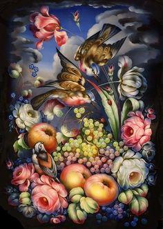 Жостовская роспись China Painting, Tole Painting, Decoupage, Tole Decorative Paintings, Arte Popular, Leaf Flowers, Russian Art, Beautiful Paintings, Art Lessons